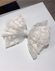 Fashion White (spring Clip) Lace Big Bow Net Yarn Embroidery Hairpin Hair Rope