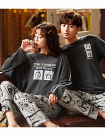 Fashion Puppy Printed Cotton Long-sleeved Pullover Home Service Suit Couple Pajamas Women