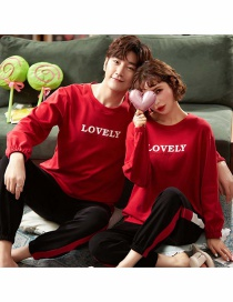 Fashion Letter Round Neck Printed Cotton Long-sleeved Couple Home Service Suit Women