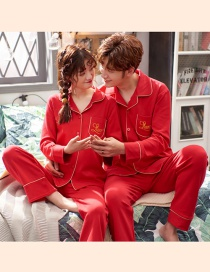 Fashion Alphabet Red Printed Cotton Long-sleeved Home Service Suit Couple Pajamas Men