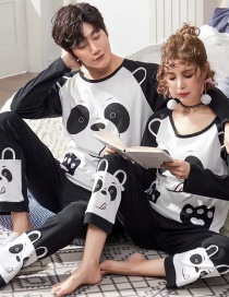 Fashion Bear Printed Long-sleeved Pure Cotton Thin Home Service Suit Couple Pajamas Men