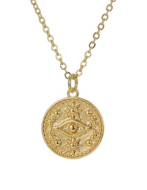 Fashion Gold Color Copper Inlaid Zircon Round Eye Necklace