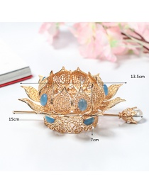Fashion Water Blue Hollow Alloy Hair Bun Crown With Pearls Diamonds Flowers And Leaves