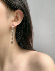 Fashion Silver Color Pig Nose Long Alloy Earrings