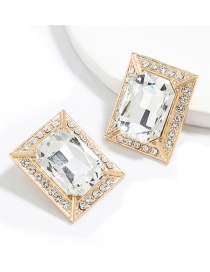 Fashion Gold Color Square Alloy Inlaid Glass Diamond Earrings