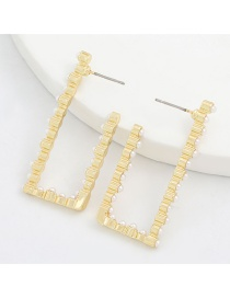 Fashion Gold Color Hollow Notch Square Metal Pearl Earrings