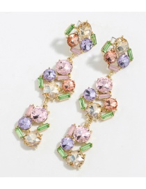 Fashion Color Alloy Inlaid Glass Diamond Flower Long Earrings