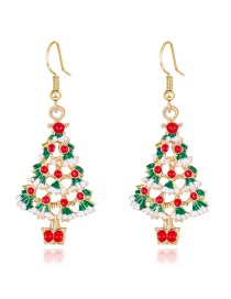 Fashion Color Dripping Christmas Tree Bell Alloy Hollow Earrings