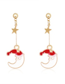 Fashion Color Drop Oil Moon Five-pointed Star Alloy Earrings