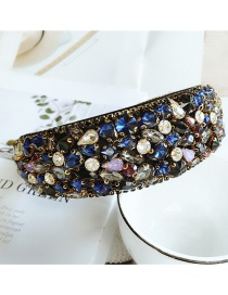 Fashion Color Geometric Fabric Wide-brimmed Headband With Diamonds