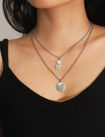 Fashion White K Bear Letter Round Alloy Multilayer Necklace
