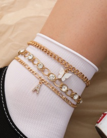Fashion Gold Color Letter Diamond Resin Butterfly Alloy Multilayer Anklet