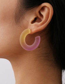 Fashion Mixed Color Powder + Yellow Gradient Acrylic Geometric Earrings