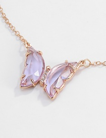 Fashion Necklace Purple Zircon Butterfly Resin Alloy Necklace Earrings Ring Reviews