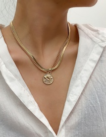 Fashion Gold Color Round Snake Bone Chain Alloy Multilayer Necklace