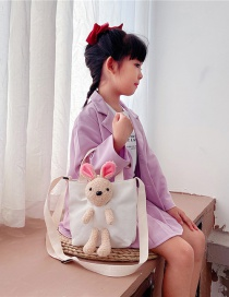 Fashion White Canvas Rabbit Doll Childrens One-shoulder Messenger Bag