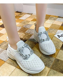Fashion White Rhinestone Square Buckle Thick-soled Mesh Increased Sports Shoes