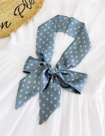Fashion Little Love Fight Blue Satin Printed Bow Ribbon Long Ribbon Silk Scarf