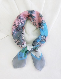 Fashion Cotton Flowers Bloom In Ash Thin Cotton And Linen Print Small Square Scarf