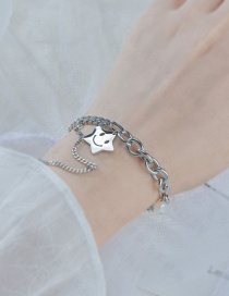 Fashion Silver Color Hollow Smiley Glossy Stainless Steel Five-pointed Star Bracelet