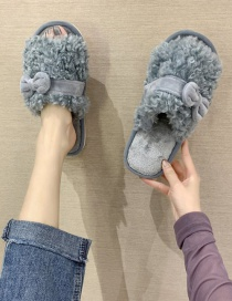 Fashion Blue Lamb Wool Home Cotton Slippers With Bow