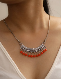 Fashion Red Turquoise Tassel Alloy Strap Necklace