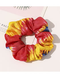 Fashion Knitted Tie Dye Hair Tie-red And Yellow Knitted Tie-dye Printed Large Bowel Hair Rope