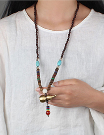 Fashion Openable Hollow Gourd Wood Bead Chain Copper Gourd Pendant Wooden Sweater Necklace