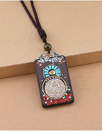 Fashion White Fortuna Thangka Square Ebony Wood Thangka Ebony Nepal Peace Brand Sweater Chain