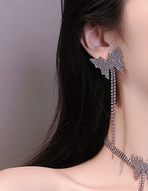 Fashion Silver Color Butterfly Diamond Tassel Long Alloy Earrings