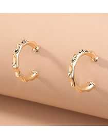 Fashion Gold Color Alloy Concave Geometric Earrings