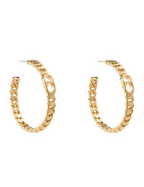 Fashion Gold Color Geometric Twist Chain C-shaped Alloy Hollow Earrings