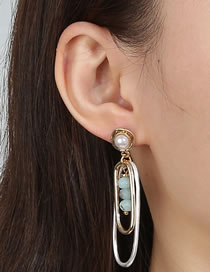 Fashion Silver Color Double Sandy Silver Oval Long Green Agate Earrings