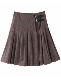 Fashion Color Mixing Belt Buckle Pleated Check Woolen Skirt