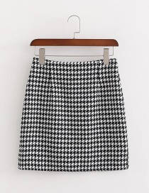 Fashion Black Houndstooth Bag Hip Skirt