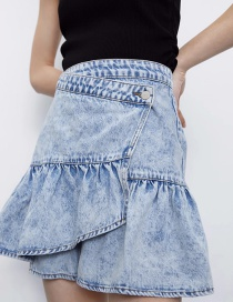 Fashion Colorful Ruffle Stitching Denim Skirt