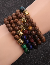 Fashion Blue 8mm Tiger Eye Stone Wood Bead Buddha Head Bracelet