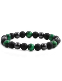 Fashion Green Gallstone Frosted Tiger Eye Stretch Beaded Bracelet