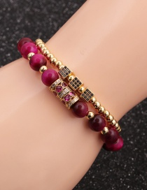 Fashion Gold Colorful 8mm Tiger Eye Heart Micro-inlaid Zircon Cube Bracelet Set
