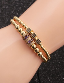 Fashion Gold Colorful Suit Micro-inlaid Zircon Cube Cylindrical Love Bracelet Set