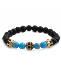 Fashion Emperor Yellow Blue Emperor Stone Crown Diamond Ball Copper Beads Beaded Bracelet Set