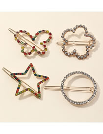 Fashion Color Mixing Diamond Flower Butterfly Geometric Shaped Alloy Hollow Hairpin Set
