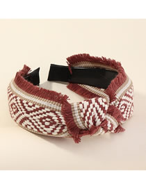 Fashion Dark Red Contrast Plaid Wide Knotted Hair Band