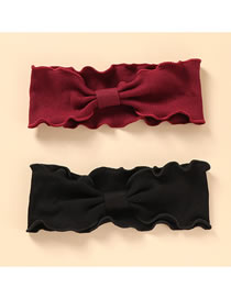 Fashion Black Red Bowknot And Wood Ears With Wide Edge Elastic Hair Band Set