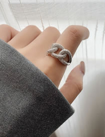 Fashion Silver Color Micro-set Geometric Chain Alloy Hollow Ring