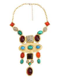 Fashion Color Alloy Geometric Resin Pendant Necklace