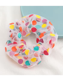 Fashion White Polka Dot Organza Fabric Fabric Large Intestine Ring Hair Rope