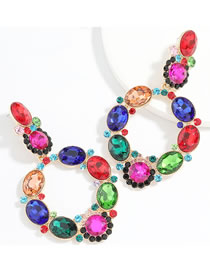 Fashion Color Claw Chain Alloy With Colored Diamonds Geometric Hollow Earrings