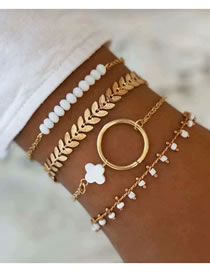 Fashion Gold Color Cross Leaf Geometric Round Bracelet Set