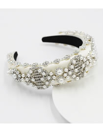 Fashion White Diamond-studded Pearl Geometric Sponge Broad-brimmed Headband